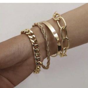 Gold Bangle Bracelet Set, Lux Fashion Jewelry